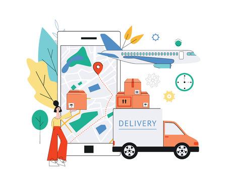Cartel de seguimiento de entrega de vector con mujer sosteniendo paquete cerca del mapa del mundo con pasadores de navegación, camión de carga, avión y aplicación móvil en la pantalla del teléfono inteligente. Fondo de banner de envío en línea.