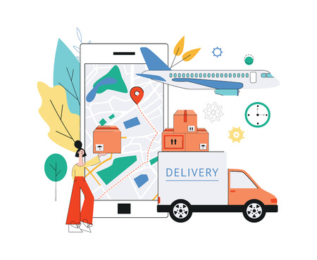 Vector delivery tracking poster with woman holding package near world map with navigation pins, cargo truck, plane and mobile application in smartphone screen. Online shipping banner background.