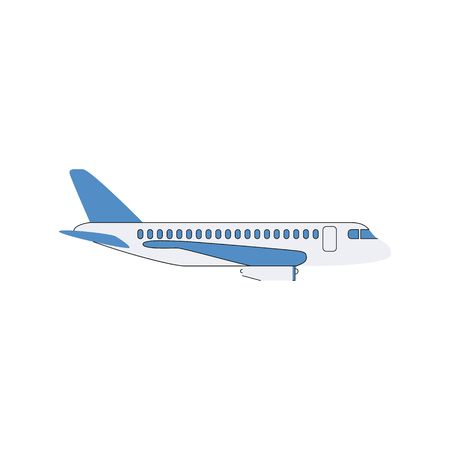 White airplane with blue wings, commercial passenger plane in flight mode, flat cartoon style jet aircraft in side view. Transport themed isolated vector illustration on white background