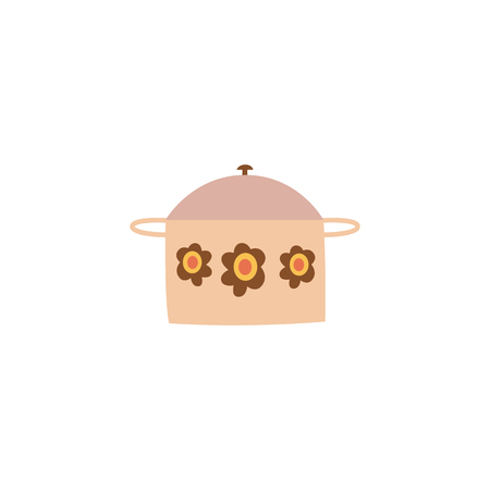 Covered cooking pot with flower decor in flat cartoon style, vector illustration isolated on white background. Lidded saucepan or casserole pot, kitchen utensil for making hot dishes