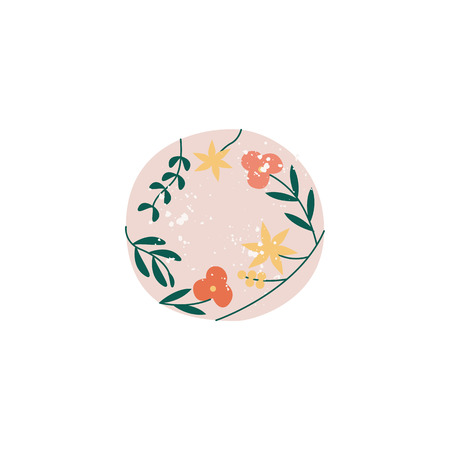 Top view of crockery element the white porcelain or ceramic plate ornate with floral pattern flat vector illustration isolated on white background. Tableware or dishware.