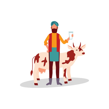 Indian farmer in turban standing with glass of milk and cow flat cartoon style, vector illustration isolated on white background. Man in traditional clothing with dairy product from his cattle