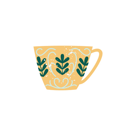 Vector ceramic crockery cup decorated with abstract floral pattern. Faience teacup, breakfast porcelain pottery. Traditional home dishware. kitchen drink mug. Isolated illustration.
