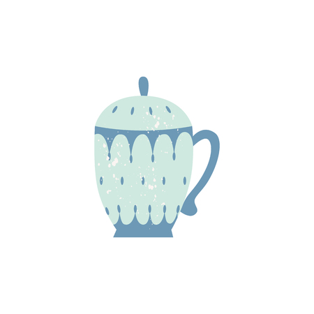 Vector ceramic crockery teapot decorated with abstract pattern. Faience breakfast porcelain pottery. Traditional home dishware. kitchen drink mug. Isolated illustration. Иллюстрация