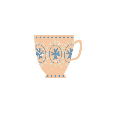 Vector ceramic crockery cup decorated with abstract pattern. Faience teacup, breakfast porcelain pottery. Traditional home dishware. kitchen drink mug. Isolated illustration.