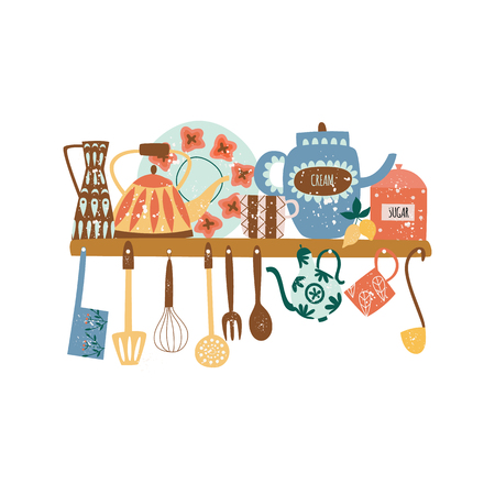 Shelf with ceramic tableware and hanging kitchen tools flat cartoon style, vector illustration isolated on white background. Group of decorative porcelain dishware and utensils