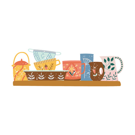 Wooden shelf with crockery or ceramic tableware flat cartoon style, vector illustration isolated on white background. Group of decorative porcelain kitchen utensils