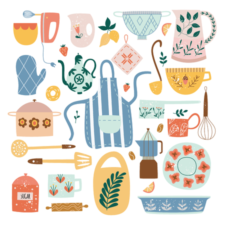 Set of ceramic kitchen utensils and tools in flat cartoon style, vector illustration isolated on white background. Collection of decorative ceramic crockery or porcelain tableware