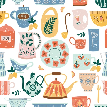 Kitchen seamless pattern of ceramic tableware flat cartoon style, vector illustration isolated on white background. Textile or wallpaper repeating print of color decorated ceramic crockery