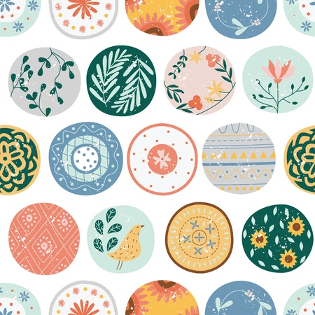 Kitchen seamless pattern of circles or ceramic plates flat cartoon style, vector illustration isolated on white background. Textile or wallpaper repeating print of rounds or ceramic crock dishes