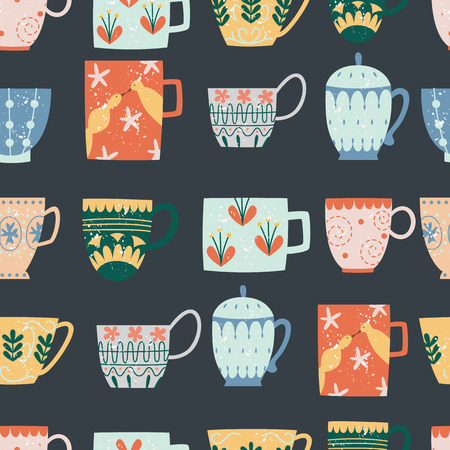 Kitchen seamless pattern of ceramic cups flat cartoon style, vector illustration isolated on dark background. Textile or wallpaper repeating print of color decorated ceramic crock mugs