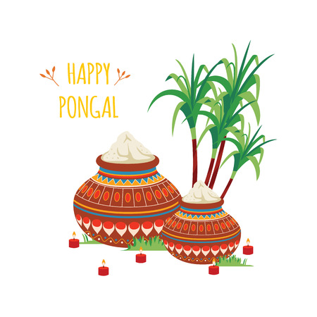Happy Pongal design of Indian clay pots with rice and sugarcane cartoon style, vector illustration isolated on white background. Hindu festival of harvest celebration greeting card