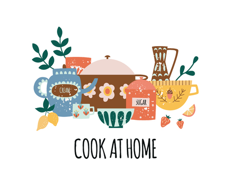 Composition of crock kitchenware with text in flat cartoon style, vector illustration isolated on white background. Design for home cooking poster with group of ceramic utensil