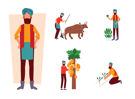 Set of Indian farmer and his work activity in field flat cartoon style, vector illustration isolated on white background. Man plowing farmland with ox and holding agricultural plants Illustration