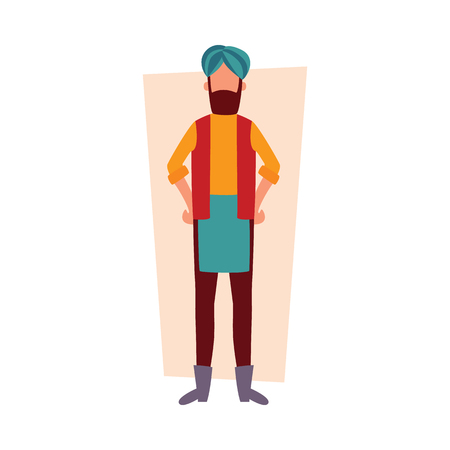 Indian man in traditional clothes standing with arms akimbo flat cartoon style, vector illustration on white background. Full face or front view of bearded male in turban