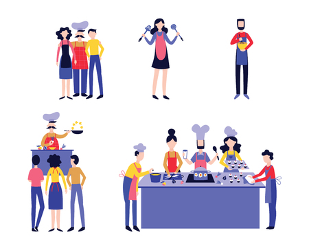 Set of chef with male and female cooks flat cartoon style, vector illustration isolated on white background. Collection of people learning to prepare food at cooking classes