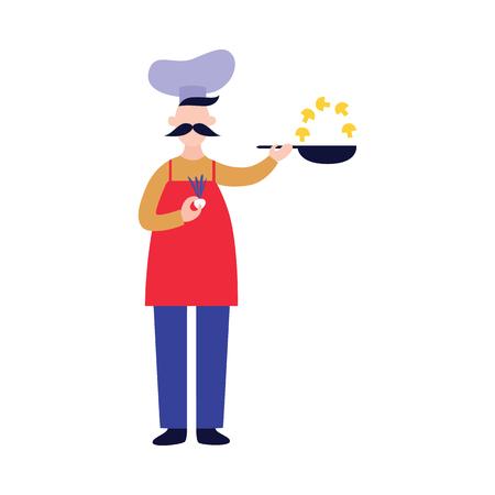 Lo chef maschio si alza e tiene la padella mentre frigge i funghi in stile cartone animato piatto, illustrazione vettoriale isolato su sfondo bianco. Cuoco a figura intera con baffi in cappello e grembiule