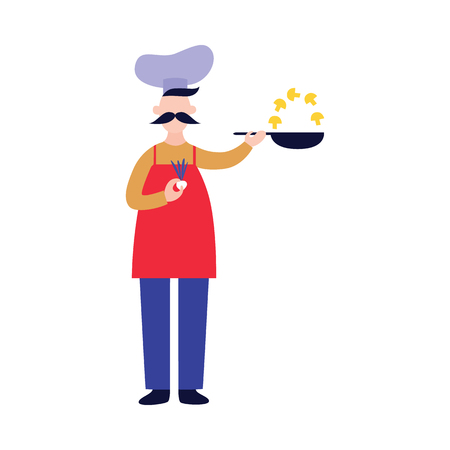 Male chef stands and holds pan while frying mushrooms flat cartoon style, vector illustration isolated on white background. Full-length cook man with mustache in hat and apron