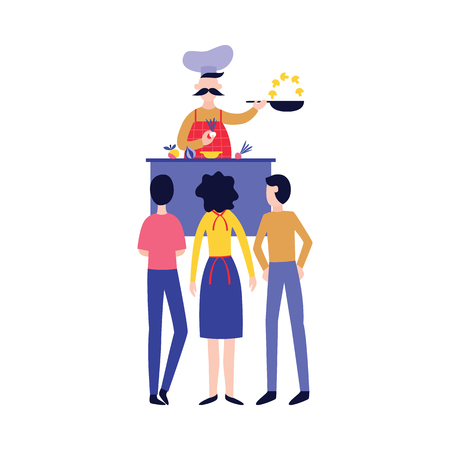 Male chef cooking food in front of people flat cartoon style, vector illustration isolated on white background. Men and woman stands watching culinary master class, open show kitchen