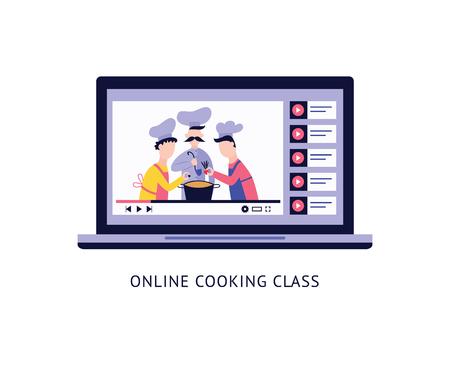 Recettes vidéo culinaires en ligne sur écran d'ordinateur portable et texte style cartoon plat, illustration vectorielle isolée sur fond blanc. Conception de bannières pour des cours de cuisine en ligne, un blog ou un concept d'éducation