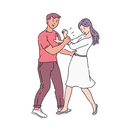 Młody mężczyzna siłą dotyka i przytula oporną dziewczynę w sukience. Mężczyzna trzymający dziewczynę za nadgarstek. Molestowanie seksualne i przemoc fizyczna, nadużycia i zastraszanie, ilustracja kreskówka wektor.