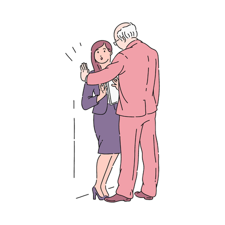 An old gray haired man in a suit presses a young girl against a wall in an office. Sexual harassment of the boss or colleague in the workplace. Violence and bullying, vector cartoon illustration.