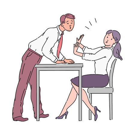Der Mann versucht, das Mädchen über den Bürotisch zu küssen, Belästigung bei der Arbeit. Belästigung eines Chefs oder Kollegen am Arbeitsplatz im Büro. Gewalt-Vektor-Cartoon-Illustration. Vektorgrafik