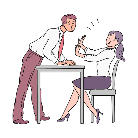 The man is trying to kiss the girl across the office table, sexual harassment at work. Harassment of a boss or colleague in the workplace in the office. Violence vector cartoon illustration.