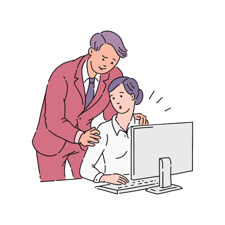 A male colleague or boss puts his hands on the shoulders of a young girl in the workplace at a computer in the office. Sexual harassment and violence, abuse and bullying, vector cartoon illustration.