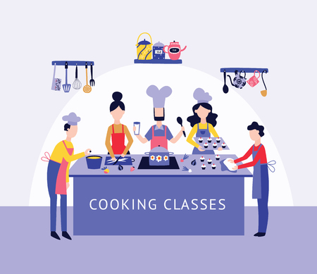 Chef and people group cooking food together at kitchen table flat cartoon style, vector illustration on interior background. Men and women in aprons at culinary class