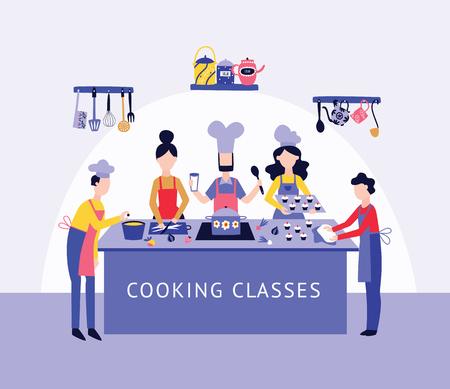 Chef et personnes groupent la cuisson des aliments ensemble au style de dessin animé plat de table de cuisine, illustration vectorielle sur fond intérieur. Hommes et femmes en tablier au cours de cuisine