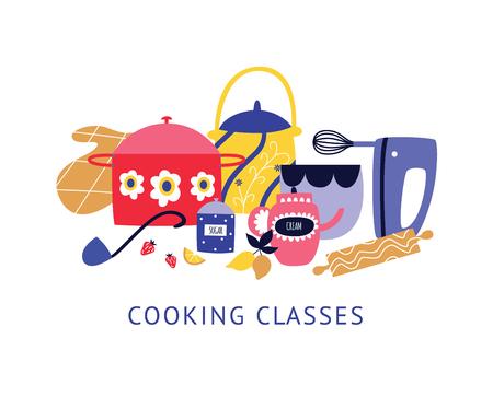 Composizione di utensili e utensili da cucina con testo in stile cartone animato piatto, illustrazione vettoriale isolato su sfondo bianco. Progettazione di poster per corsi di cucina con gruppo di piatti e attrezzature Vettoriali