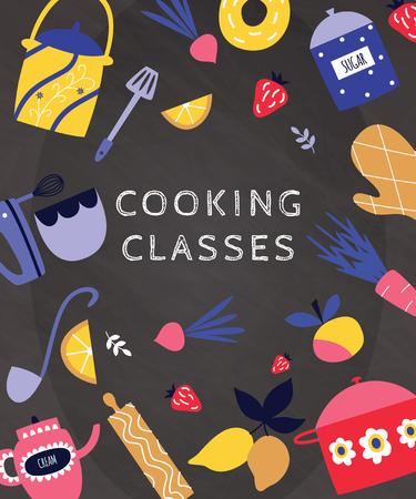 Master class de cuisine et art de la bannière culinaire de couleur plate ou illustration vectorielle de modèle de conception avec de la nourriture et des ustensiles de cuisine sur fond sombre. Affiche de cours de cuisine.