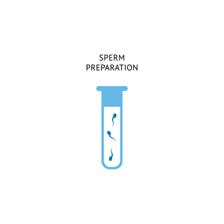 Sperm preparation procedure for fertilization. Laboratory tube icon with human fertility cell for insemination and IVF, isolated flat cartoon vector illustration isolated on white background