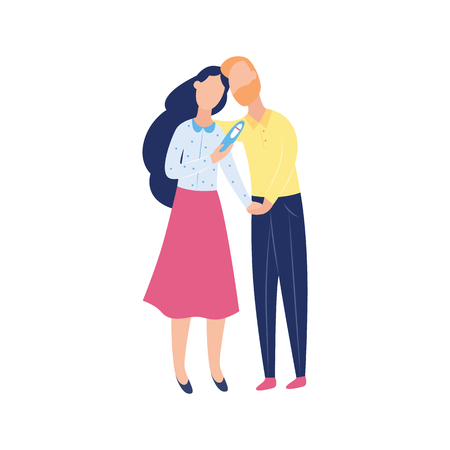 Young couple with negative pregnancy test, two cartoon characters - man and woman looking sad over infertility problem, isolated flat hand drawn vector illustration on white background