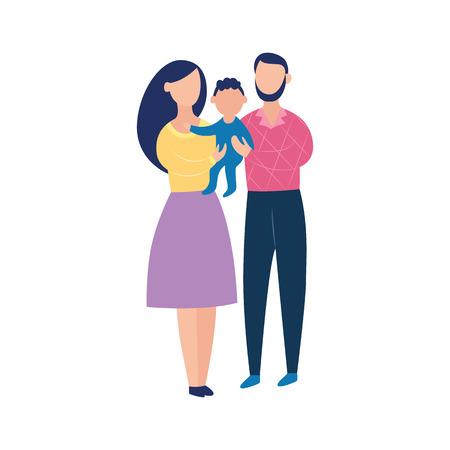 Jeune couple tenant un bébé, famille heureuse de dessin animé ensemble en illustration vectorielle plane dessinés à la main isolé sur fond blanc. Parents féminins et masculins avec leur fils en bas âge, nouveau père et mère.
