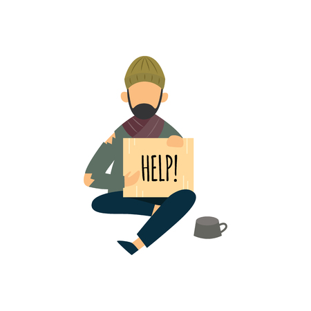 Homeless man with cardboard sign asking for help, poor beggar with old dirty clothes sitting on the street, male cartoon person in need for money, isolated flat vector illustration on white background