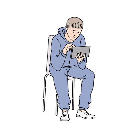 Urban young man getting news from his tablet . Ordinary modern male in casual look holding a tablet as a digital source of information cartoon sketch vector illustration isolated on white.