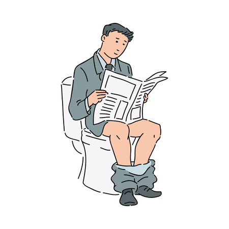 Business man or office worker in a formal suit reading a newspaper while visiting the toilet. Hand drawing sketch. A man studying today media publishing vector humor illustration isolated on white.