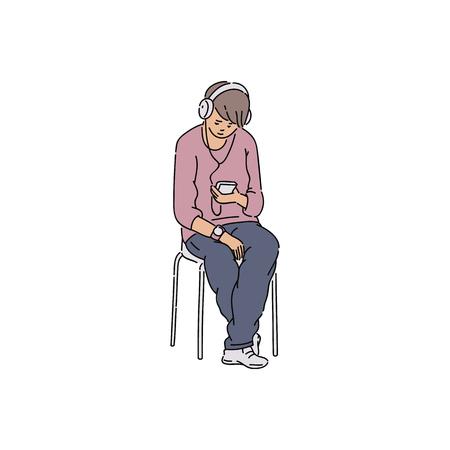 Giovane che ascolta la musica sulle cuffie. Persona di sesso maschile che tiene il dispositivo mobile seduto sulla sedia guardando lo schermo con la faccia triste, illustrazione vettoriale di schizzo del fumetto disegnato a mano su sfondo bianco