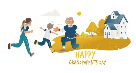 Children running to hug grandfather standing on one knee cartoon style, vector illustration isolated on white background. Happy grandparents day design with boy and girl and grandpa in countryside