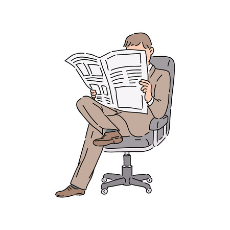 Businessman in working suit sitting in a chair and reading newspaper vector cartoon illustration isolated on white background. Daily information media concept icon in sketch style.