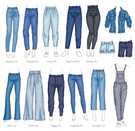 Insieme dell'icona di schizzo di vettore denim femminile pantaloni, pantaloncini e giacca. Pantaloni moda casual, camicie capo trendy per donna. Abbigliamento in tessuto urbano, abbigliamento blu alla moda. Illustrazione isolata
