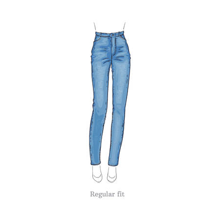 Vector regular fit style blue jeans. Denim female pants sketch icon. Casual fashion trousers, trendy garment for women. Urban fabric apparel, fashionable blue clothing. Isolated illustration