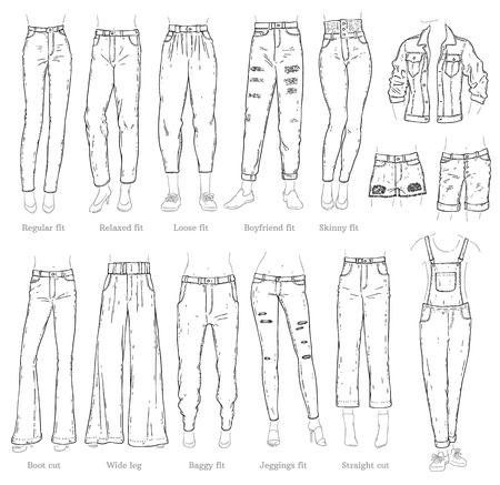 Vector denim femminile pantaloni, pantaloncini, tute e giacca icona schizzo set monocromatico. Pantaloni moda casual, camicie capo trendy per donna. Abbigliamento in tessuto urbano, abbigliamento blu alla moda. Vettoriali