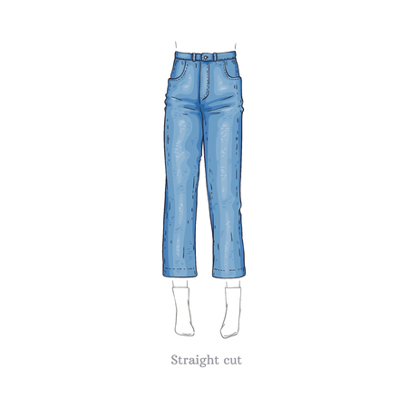 Vector straight cut style blue jeans. Denim female pants sketch icon. Casual fashion trousers, trendy garment for women. Urban fabric apparel, fashionable blue clothing. Isolated illustration