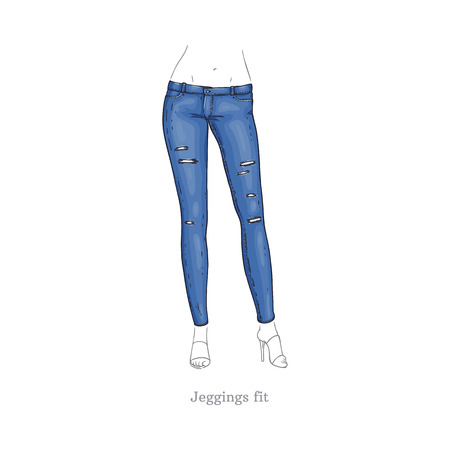 Legginsy wektorowe pasują do stylu niebieskie dżinsy. Dżinsowe kobiece spodnie szkic ikona. Spodnie casual fashion, modna odzież dla kobiet. Odzież z tkaniny miejskiej, modna niebieska odzież. Ilustracja na białym tle