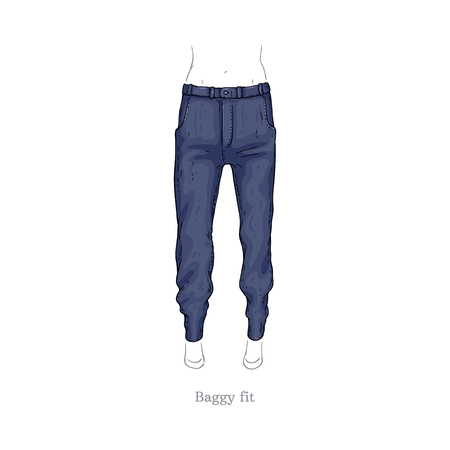 Vector baggy fit style blue jeans. Denim female pants sketch icon. Casual fashion trousers, trendy garment for women. Urban fabric apparel, fashionable blue clothing. Isolated illustration