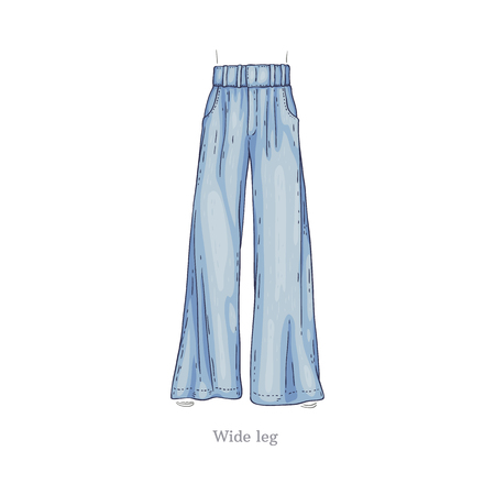 Vector wide leg style blue jeans. Denim female pants sketch icon. Casual fashion trousers, trendy garment for women. Urban fabric apparel, fashionable blue clothing. Isolated illustration Illustration