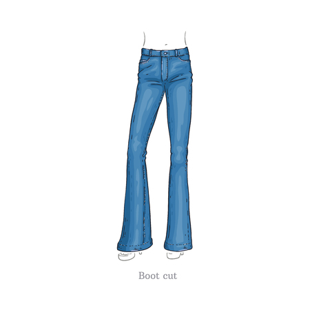 Vector boot cut style blue jeans. Denim female pants sketch icon. Casual fashion trousers, trendy garment for women. Urban fabric apparel, fashionable blue clothing. Isolated illustration
